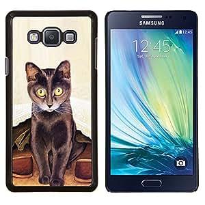 YiPhone /// Prima de resorte delgada de la cubierta del caso de Shell Armor - Arte del gato largo Bigotes Pintura de Brown - Samsung Galaxy A7 A7000