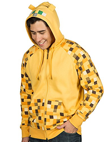 JINX Minecraft Men's Ocelot Premium Zip-Up Hoodie (Yellow, Large)
