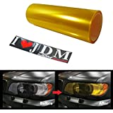 12 by 48 inches Self Adhesive JDM Golden Yellow Headlights or Fog Lights Tint Vinyl Film
