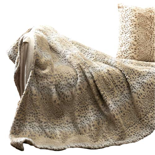 TINA'S HOME Snow Leopard Blanket | Faux Fur Throw (50x60 inches, Tan) -