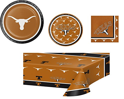 University of Texas Longhorns Party Bundle for 16: One Plastic Table Cloth, 16 Large Plates, 16 Small Plates, and Pack of 20 Napkins