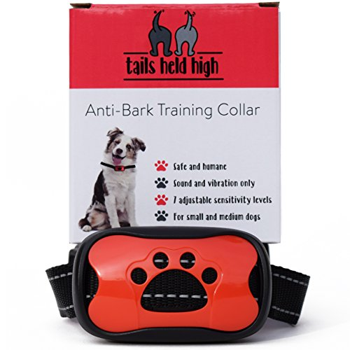 Tails Held High Anti Bark Dog Training Collar uses Sound and Vibration...