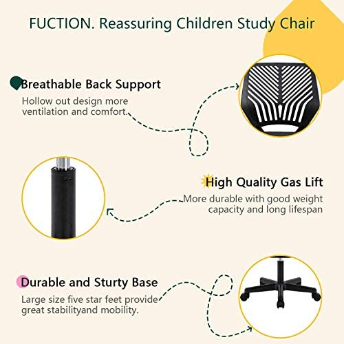 BOSSIN Desk Office Chair For Kids Teens Computer Mesh Chair With Low-Back Armless Adjustable Swivel Ergonomic Home Office Student Chair Black White(Black)