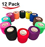 2 inch Vet Wrap Tape Bulk (12 Pack) FDA Approved, Vetwrap Self Adhesive Adhering Cohesive Bandage Vet Rap for Dog Cat Horse Pet Flex Roll, Assorted, Paw Prints, Patterns, Camo Camouflage Colors