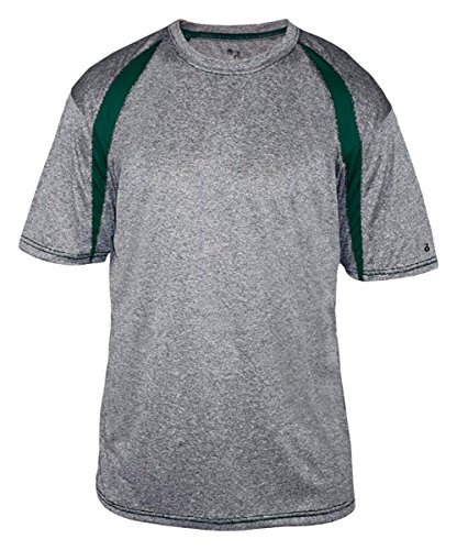 Badger Sport Men's Short Sleeve Fusion Tee Shirt XXXX-Large Steel/Forest