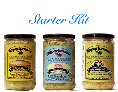 Price comparison product image Starter kit combo-pack: raw fermented sauerkraut,  organic,  probiotic,  kosher and unpasteurized No shipping charges with this combo pack.