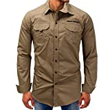 Spbamboo Mens Shirt Long Sleeve Button Basic Solid Blouse Tee Top
