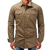 Men shirts Hot WEUIE Men Long-Sleeve Beefy Button Basic Solid Blouse Tee Shirt Top (XL, Khaki)
