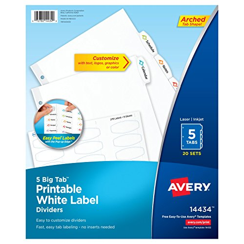 Avery Big Tab Printable White Label Dividers with Easy Peel, 5 Tabs, 20 Sets (14434)