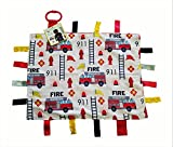 "Baby Sensory, Security & Teething Closed Ribbon Tag Lovey Blanket with Minky Dot Fabric: 14""X18"" (Fire and Rescue)"
