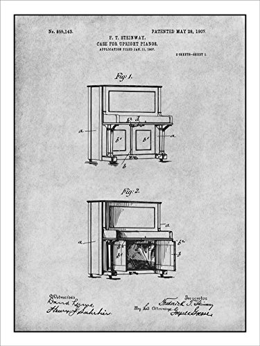 1907 Steinway Upright Piano Patent Print Art Poster UNFRAMED Gray 18