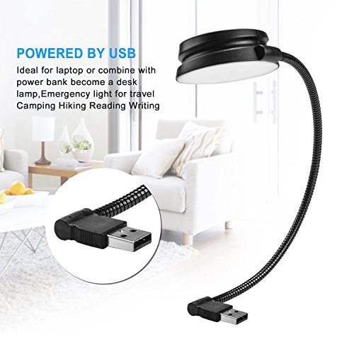 USB Reading Lamp with LED Lights by Philips 3W and Flexible Gooseneck for Laptop, Power Bank, Desk Lamp,Camping Hiking Emergency Light - White by Unknown (Image #5)