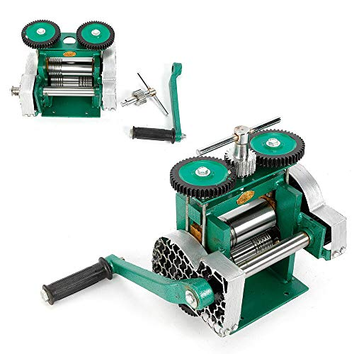 "HYYKJ Manual Combination Rolling Mill Milling Machine Jewelry Press Tabletting Tool Roller for Jewelry DIY Making Design Repair 85mm / 3.3"" Width"