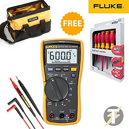 Fluke 117 True RMS Digital Multimeter KIT2R TL175 Electricians Test Leads C550 Tool Bag / Case FREE Wiha 25477 Screwdriver Set
