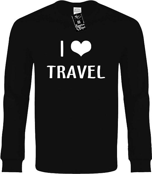 2b512921 Amazon.com: Funny Long Sleeve T-Shirt (I Love (Heart) Travel (Vacation &  Beach) Novelty Tee: Clothing