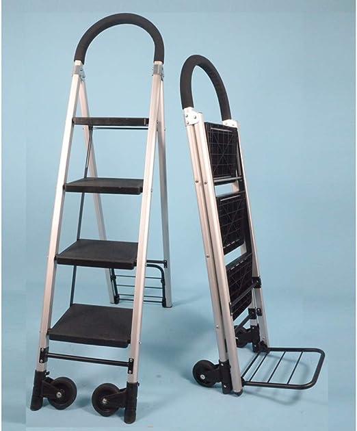 QIANGDA Carretillas Mano Escalera 2 En 1 Multiposición Pedal Antideslizante con Ruedas Giratorias Carga Máxima 150kg, 3/4 Escalera De Tijera (Color : 4-Step): Amazon.es: Jardín