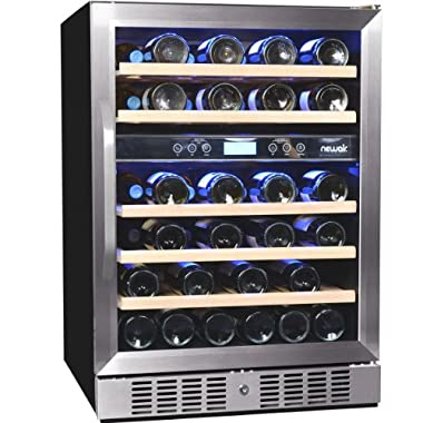 NewAir AWR-460DB 46 Bottle Built in Dual Zone Compressor Wine Cooler, Stainless Steel & Black