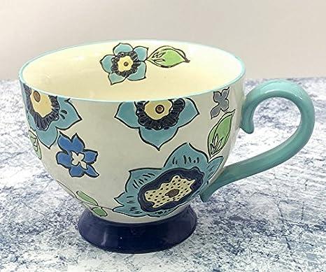 Laxba taza de café Taza de café de cerámica de gran capacidad pintada a mano de