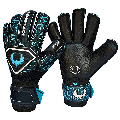 (Renegade GK Triton Specter Roll Cut Level 2 Adult & Kids Goalie Gloves Soccer with Fingersaves - Girls & Boys Soccer Goalie Gloves Fingersave - Size 7 Goalie Gloves - Black & Blue)