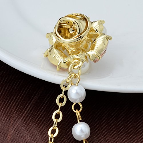 Champagne Tone Crystal Pearl Daisy Flower Brooches Pins with Pearl Chain Tassel Sweater Guard Clip Pin by OBONNIE (Image #4)