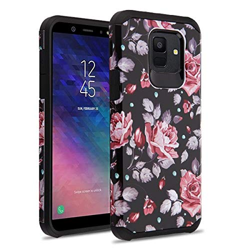(iHeartGlitter - [Hybrid Design] [Pink/Black] White Rose Garden Advanced Armor Protector Cover Phone Case for for Samsung Galaxy A6)