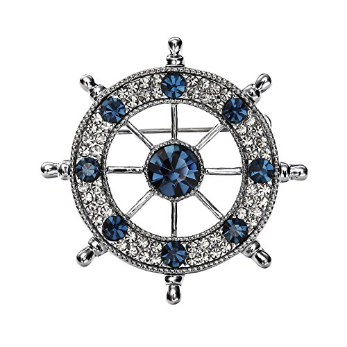 OKAJEWELRY Sapphire Blue Crystal Ship Wheel Navy Marine Sailor Brooches and Pins