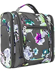 PAVILIA Hanging Travel Toiletry Bag for Women Men | Bathroom Toiletry Organizer Kit for Cosmetics Makeup | Dopp Kit Hygiene Bag for Shaving Shower (Floral Grey)