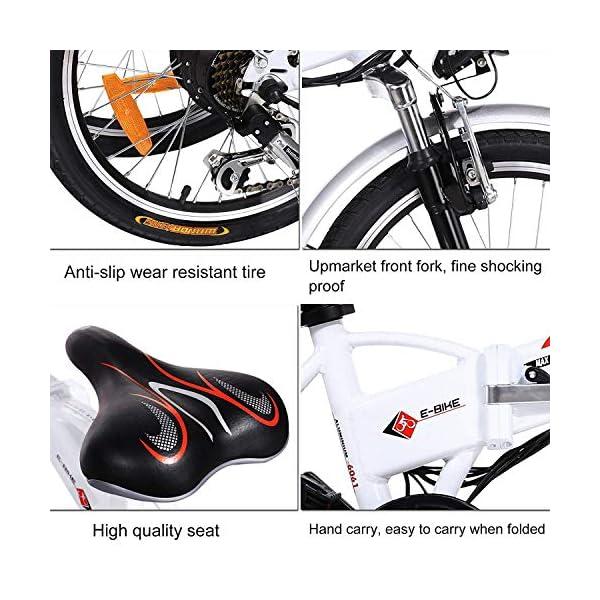 """BIKFUN Bicicletta Elettrica Pieghevole, Bici Elettriche 20"""", Motore 250W Batteria 36V 8Ah, Shimano a 7 velocità 5 spesavip"""