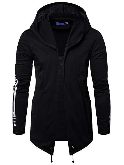 16a15e8e46 BU2H Men Open Front Long Sleeve Hooded Sweatshirt Cardigan Coat at Amazon  Men s Clothing store