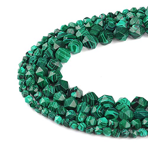 30pcs Green Malachite Beads for Necklace Bracelet Loose Beads 12mm Faceted Stone Beads for Jewelry ()