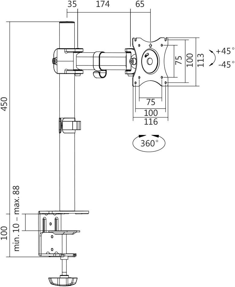 LogiLink BP0024 Soporte de Mesa para Pantalla Plana 165,1 cm (65 ...