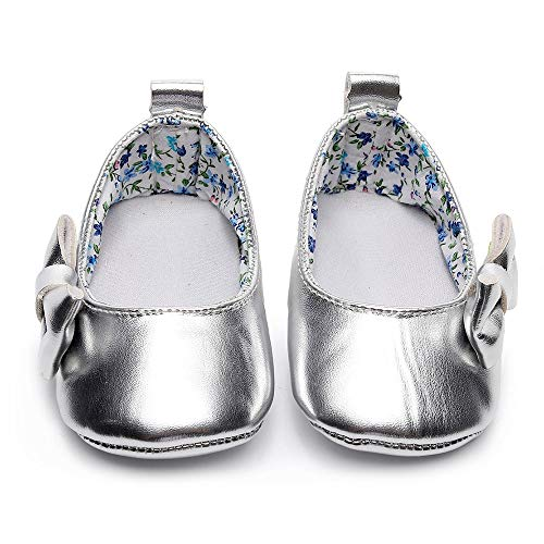 Lanhui Newborn Single Shoes Toddler Baby Girls Shallow Bowknot First Walkers Soft Sole Silver by Lanhui (Image #1)