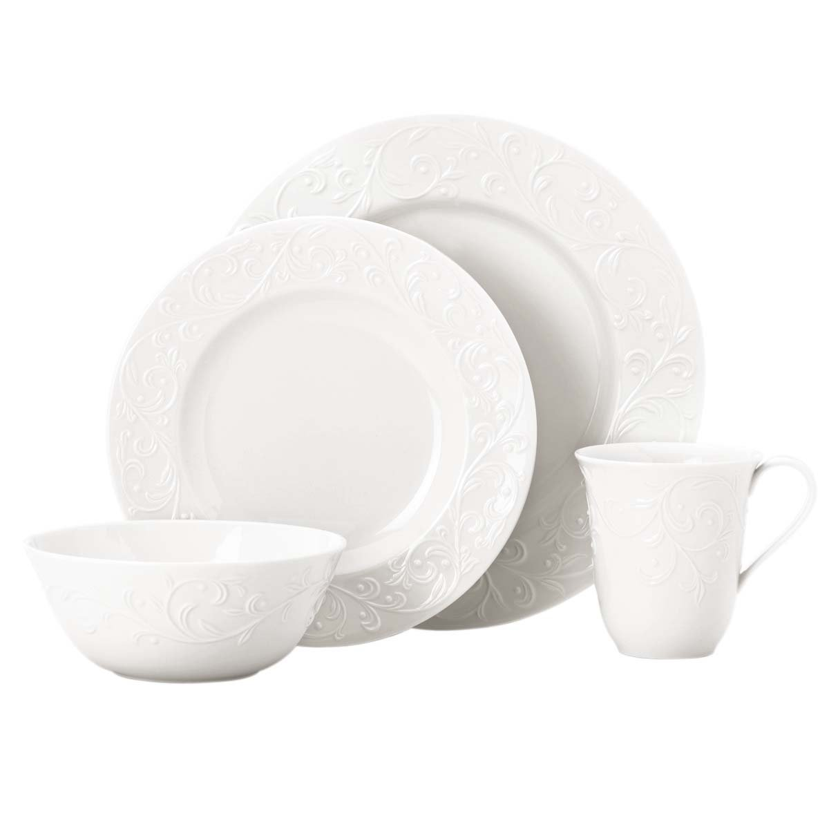 Amazon.com Lenox Opal Innocence Carved 4-Piece Place Setting Dinnerware Sets Kitchen u0026 Dining  sc 1 st  Amazon.com & Lenox Opal Innocence Carved 4-Piece Place Setting