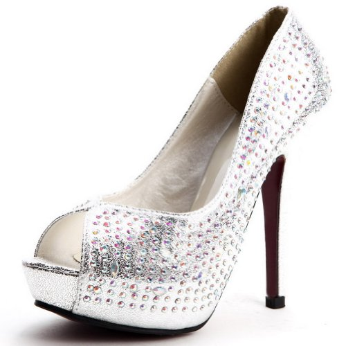 edb6a8b25db8 Kvoll Women s Open Peep Toe Platform High Heels PU Pumps Shoes with  Rhinestones