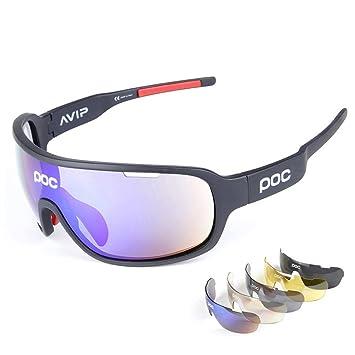 e17e06da31 Gafas Polarizadas Deporte Bici Anti UV400 Gafas para Correr Running  Antivaho con 5 Lentes Intercambiables Adaptadas