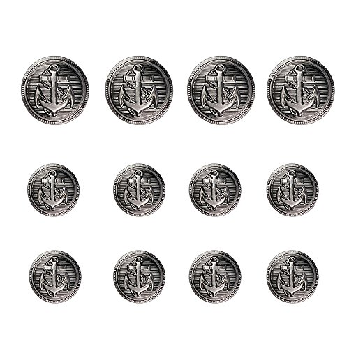 12pcs Anchor Metal Shank Blazer Button Set - DIY Sewing Supplies For Coat Jacket Sailor Suit - 20mm X 4, 15mm X 8 (Gun Black)