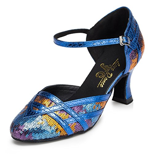 Miyoopark Womens Paillettes Mary Jane Scarpe Da Ballo Party Pumps Blu
