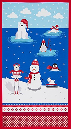- 1 Panel Polar Pals by Andie Hanna from Robert Kaufman 100% Cotton Quilt Fabric AHE-15969-11 Royal 24