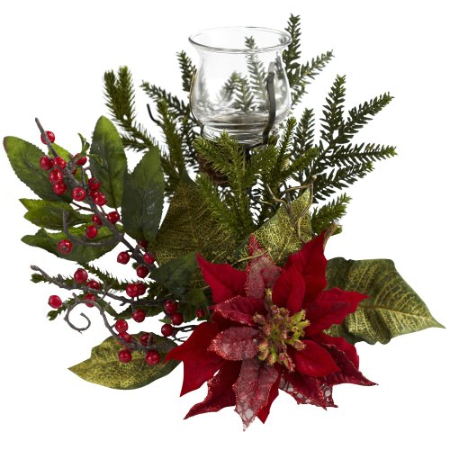 - Nearly Natural 4951 Poinsettia Candelabrum, Green