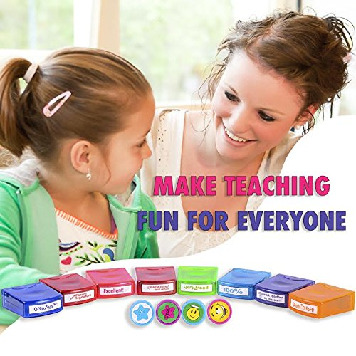 PlayBoom ECR 4 Kids 12-Piece Assorted Self-Inking Student Motivation Teacher Supplies Stamp