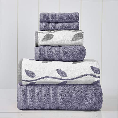 Amrapur Overseas 6-Piece Yarn Dyed Organic Vines Jacquard/Solid Ultra Soft 500GSM 100% Combed Cotton Towel Set [Grey…