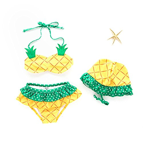 ARSTART Baby Girls Cute Pineapple Bathing Suits Halter Two-Pieces Bikini Set with Hat Tankini Swimsuits ()