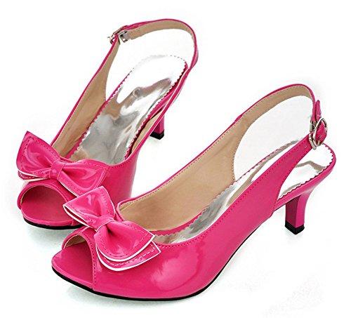 Easemax Womens Sweet Peep Toe Stiletto Kitten Heels Low Cut Buckle Pumps Shoes with Bows Red LNYuNu70Y