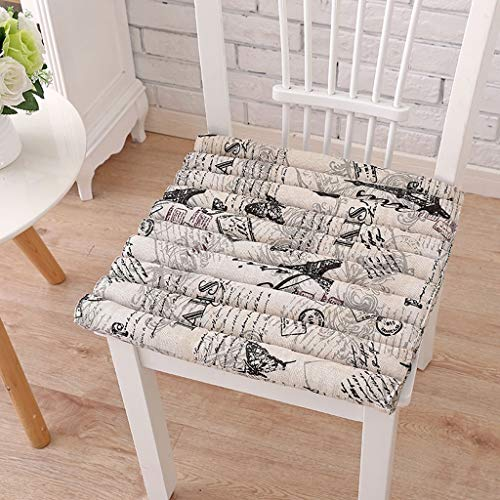 WZQWE Blend mat Square Padded mat Office Living Room Dining Chair mat Car Seat Home Stool mat Four Seasons Universal (Pattern : Paris) ()