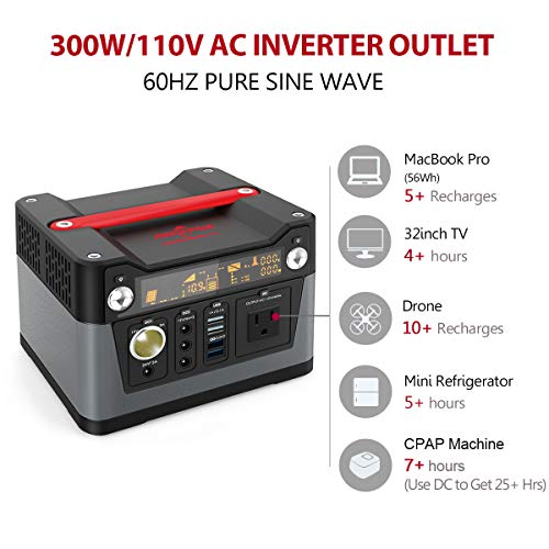 ROCKPALS 300W Portable Generator Lithium Portable Power Station, 280Wh CPAP Backup Battery Pack UPS Power Supply 110V AC Outlet, QC3.0 USB, 12V/24V DC, LED Flashlight for Camping, Home, Emergency by ROCKPALS (Image #3)