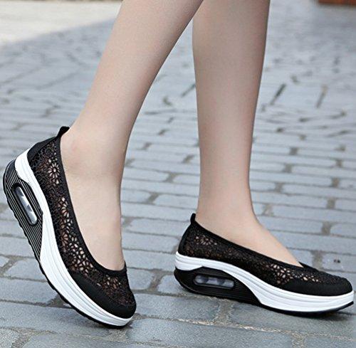 Noir Top Chaussures Hauteur Bas Casual sur Shallow Paresseux Augmenter Shake D'été Yiiquanan Bouche Chaussure Slip Femmes Maille Baskets FwOH6Tq