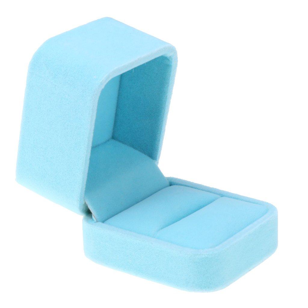 Baosity Pink White Blue Grey Wedding Ring Earring Pendant Jewelry Gift Box Velvet