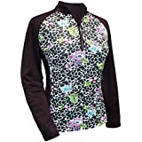 Monterey Club Ladies Dry Swing Vivid Flower Leopard Print Block Long Sleeve Shirt #2366