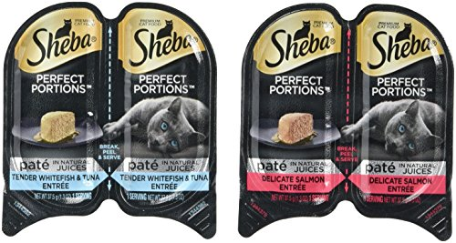 Sheba Premium Cat Food Perfect Portions Multipack - Delicate Salmon Entree and Tender Whitefish & Tuna Entree- 24 CT