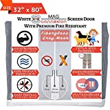 Mag-Connexion Fiberglass Screen Door | Bug & Mosquito, Fire and Rip Proof, Kids & Pets Friendly (32'x80' - Fits Door Size up to 30'x79', White)